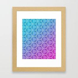 Cyan Magenta Hex Mesh Gradient Pattern Framed Art Print