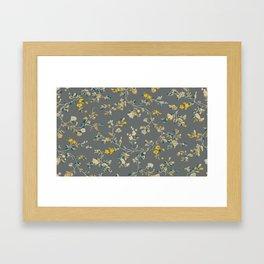 vintage floral vines - greys & mustard Framed Art Print