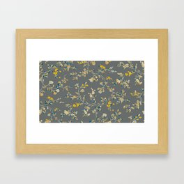 vintage floral vines - greys & mustard Framed Art Print