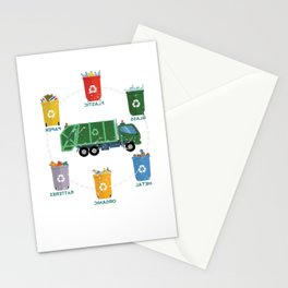 Garbage Truck Recycle Reuse Save Mother Earth Day Stationery Cards