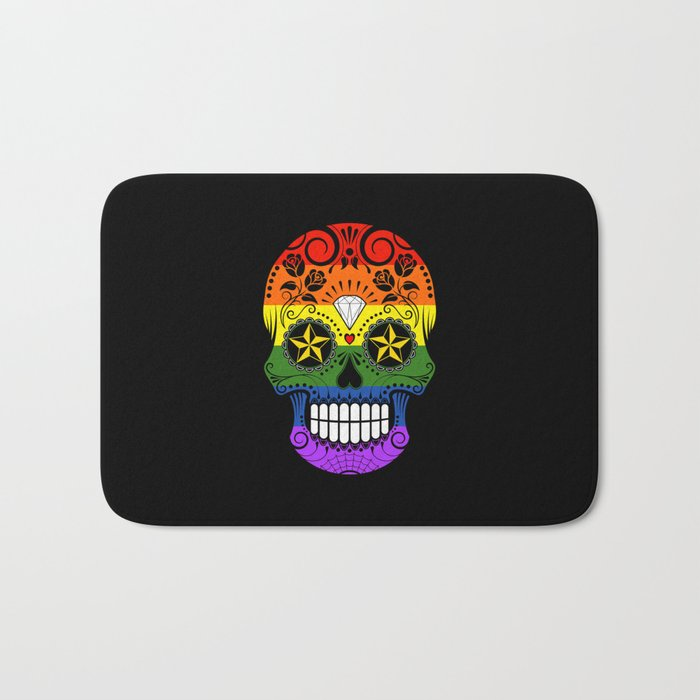 Gay Pride Rainbow Flag Sugar Skull with Roses Bath Mat