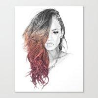 rihanna Canvas Prints featuring Rihanna by Coolrista