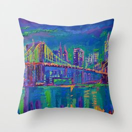 New York City Night Lights - palette knife painting urban Brooklyn bridge skyline Throw Pillow