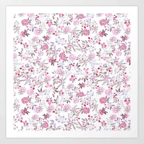 Watercolor floral pattern . Art Print