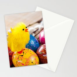Easter eggss and fluffy chickens Stationery Cards
