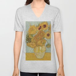STILL LIFE: VASE WITH TWELVE SUNFLOWERS - VAN GOGH Unisex V-Neck