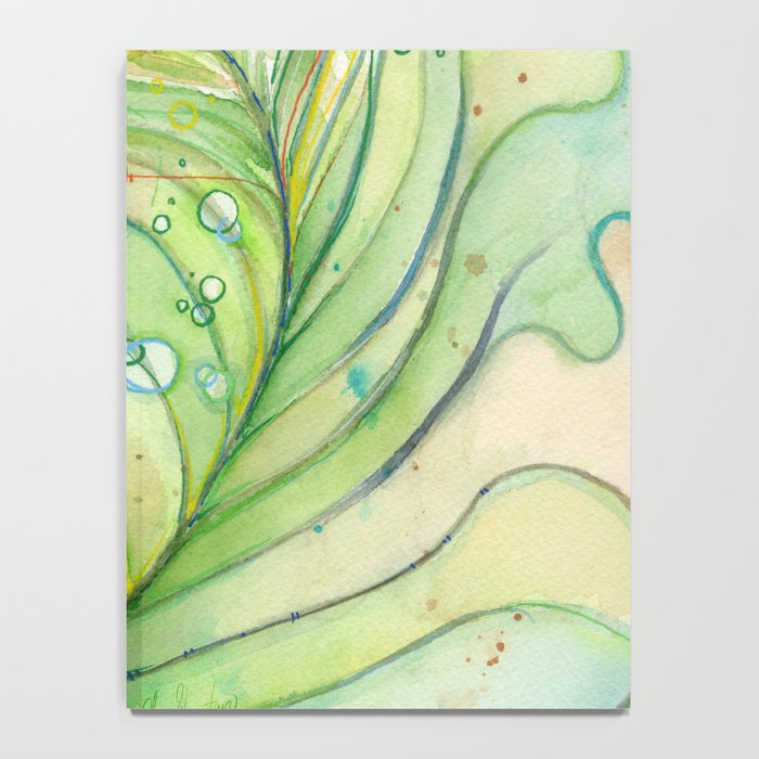 Peacock Feather Green Texture and Bubbles Notebook