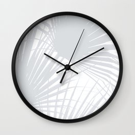 Pale Grey Tropical Leaves Wall Clock