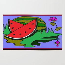 Watermelon with flower and red tile Rug