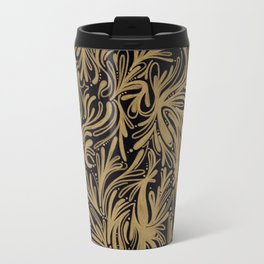 black & Gold Print Pattern Phone Case Travel Mug