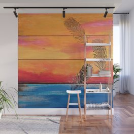 Rising Sun. My Orginal Abstract Painting by Jodilynpaintings. Abstract Sunset With Feathers. Beach Wall Mural