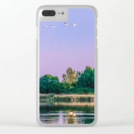Swans are flying Clear iPhone Case