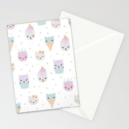 Kawaii breeze summer kitty cupcake cats and snow one ice cream kittens Stationery Cards