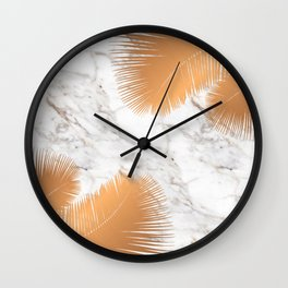 Copper Palm Leaves on Marble Wall Clock