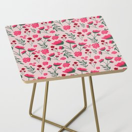 Pink Poppies Seamless Illustration Side Table