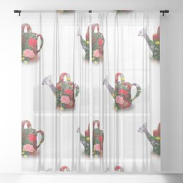 Watering Can with Flowers Sheer Curtain