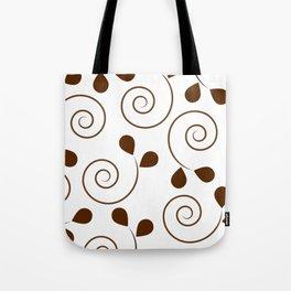 Brown Floral Swirl Pattern Tote Bag