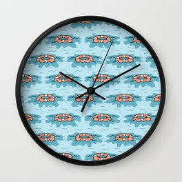 Cute lifering floating on the sea cartoon seamless pattern. Wall Clock