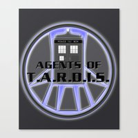 agents of shield Canvas Prints featuring Agents of TARDIS Doctor Who Agents of Shield Mash Up by Whimsy and Nonsense