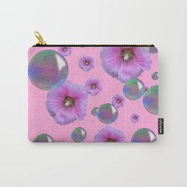 PINK-PURPLE FLOATING HOLLYHOCKS & SOAP BUBBLES PINK  ART Carry-All Pouch