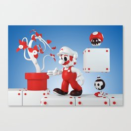Superskull Fire Mario Canvas Print
