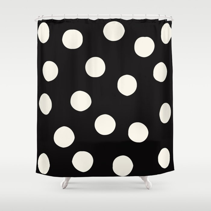 Black White Random Polka Dots Shower Curtain By Ericaofanderson