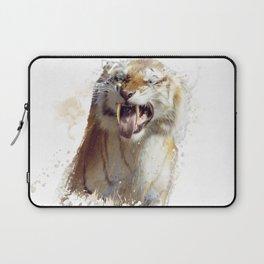 sabertooth tiger portrait watercolor Laptop Sleeve