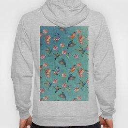 Vintage Watercolor hummingbirds and fuchsia flowers Hoody