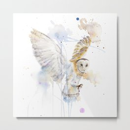 """Watercolor Painting of Picture """"White Owl"""" Metal Print"""