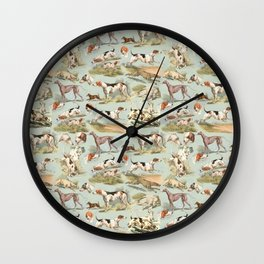 Hounds on Mint Wall Clock