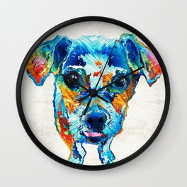 Colorful Little Dog Pop Art by Sharon Cummings Wall Clock