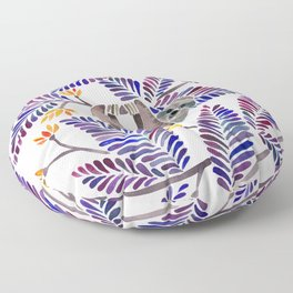 Happy Sloth – Tropical Indigo Leaves Floor Pillow