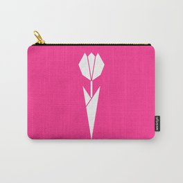 Origami Flower (white + pink) Carry-All Pouch