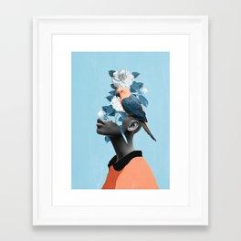Girl with parrot Framed Art Print