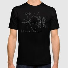 Nasa Pioneer Space Craft Plaque White Text on Black Alien Message 2X-LARGE Mens Fitted Tee Black