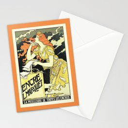 Marquet ink, art nouveau ad by Grasset Stationery Cards
