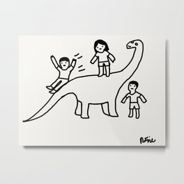 Dino Slide Metal Print