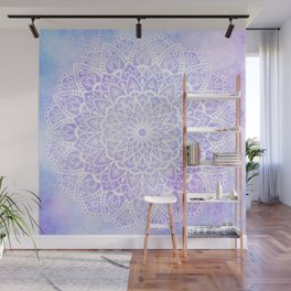 White Mandala on Pastel Blue and Purple Textured Background Wall Mural