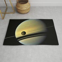 Saturn and its Moon Titan in Orbit Telescopic Photograph Rug