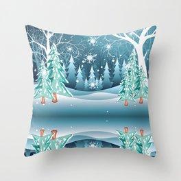 Winter Forest Landscape Throw Pillow