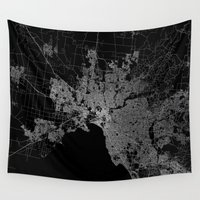 melbourne Wall Tapestries featuring Melbourne map Australia by Line Line Lines