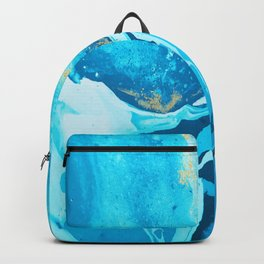 Blue Water color Gold glitters Backpack