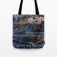 hemingway Tote Bags featuring Ernest Hemingway by Ginevra