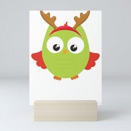 Christmas Owl Reindeer Antler Mini Art Print