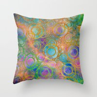 circles Throw Pillows featuring Circles by Klara Acel