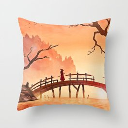 Samurai Scene, Bushido Ronin Throw Pillow