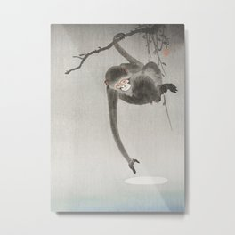 Monkey and the reflection of the moon in the water - Japanese vintage woodblock print Metal Print