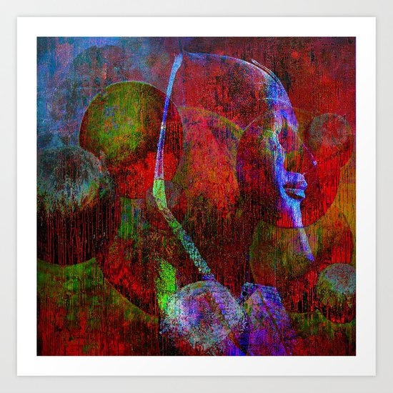 the mask of Cleopatra ( collaboration with the talented artist design Ganech Joe) Art Print