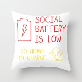 Low Battery Low Battery Charging Social Networking Throw Pillow