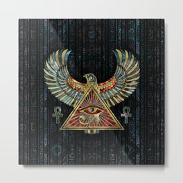 Eye of Horus - Wadjet  Gemstone and Gold Metal Print